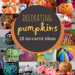 Such creative no-carve pumpkin decorating for kids to do -- love these that don't require the kids to cut!