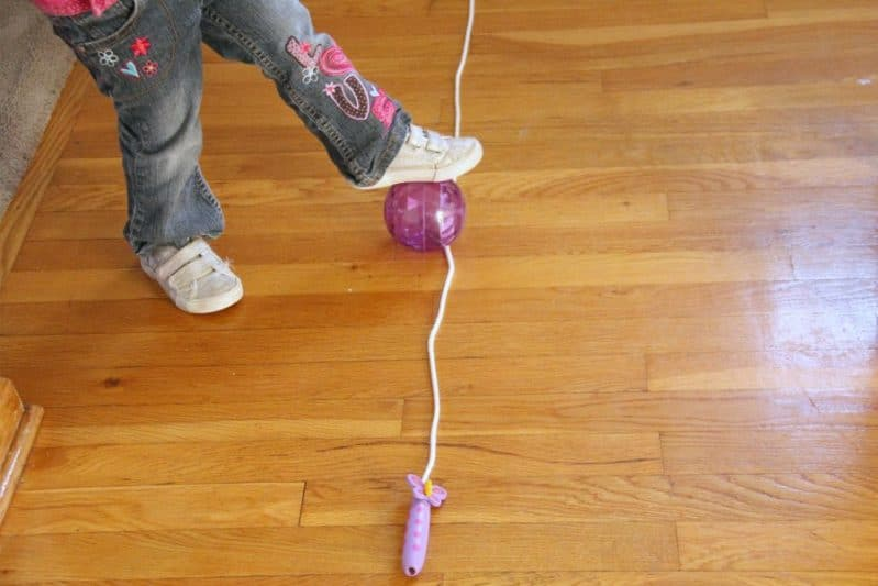Kids can play this follow the line motor planning activity while developing balance.