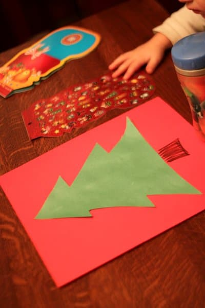 Sticker Christmas tree craft setup for kids