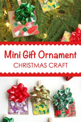 Make this mini gift Christmas ornament craft with this kids for some great memories.