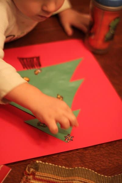 Simple sticker Christmas tree craft for kids