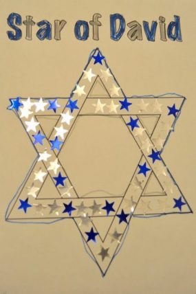 An easy sticker tracing Hanukkah activity