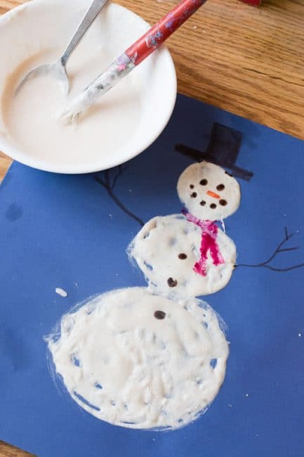 Simple snowman to make with homemade puffy paint
