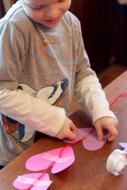 Making a garland of hearts