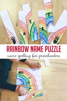 Make a rainbow puzzle with your preschoolers name!