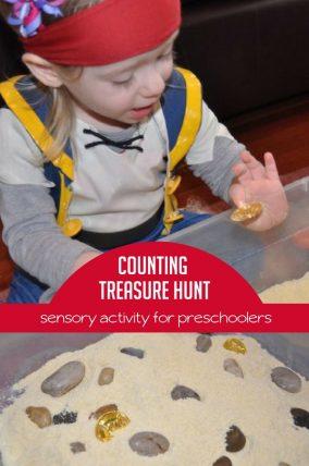 Treasure Hunt Sensory Bin is a fun way to get counting practice!