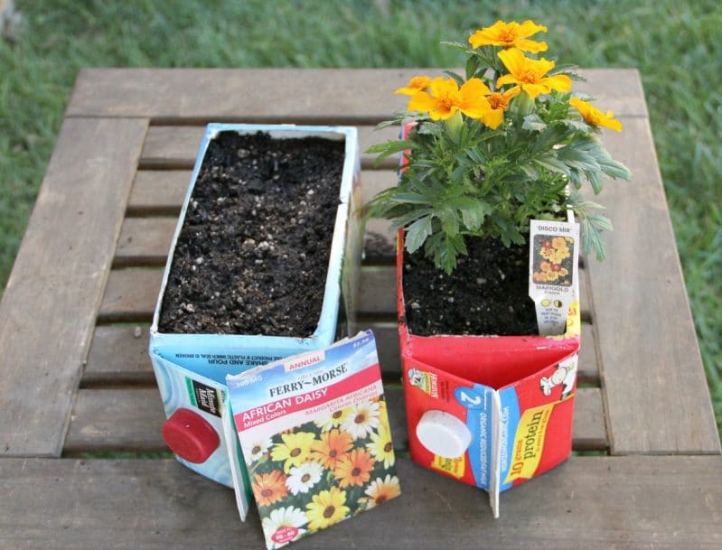 Flower garden for kids made of upcycled cartons - so smart!