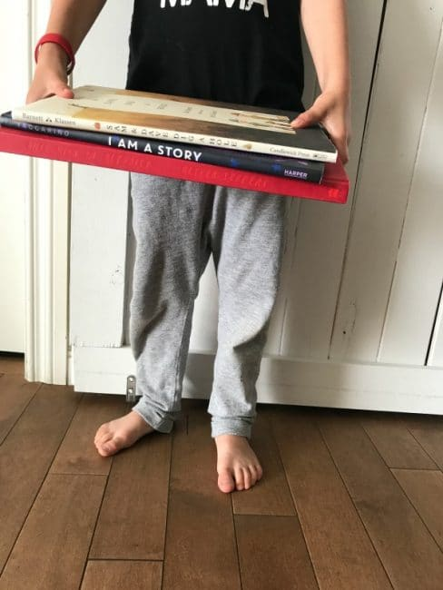 Cute way to bring more fun with books! And uneven book trail with a built-in domino effect