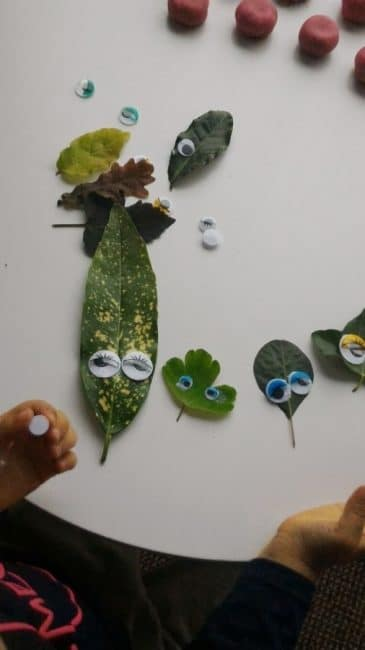 A leaf cutting activity that doubles as pretend play.