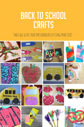 Celebrate this time of year with back to school crafts that all have cutting elements in it for your preschooler to practice scissor skills.