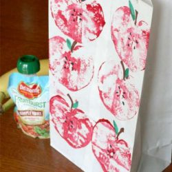 Apple printing to decorate lunch sacks