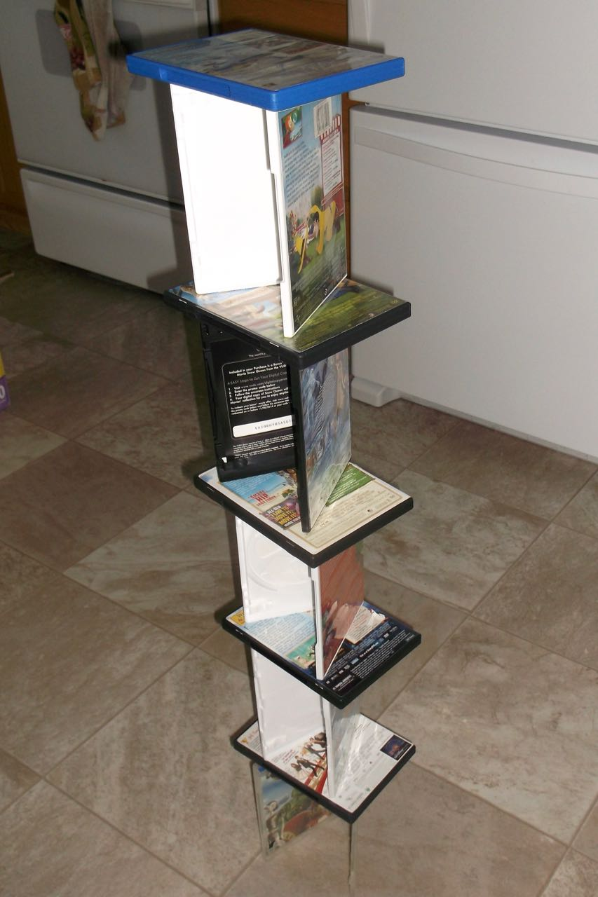 Tower building without blocks - use dvd cases!