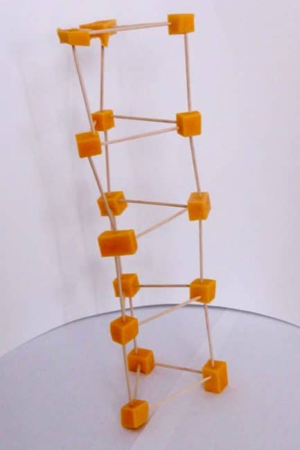 Tower building without blocks - use cheese and toothpicks!