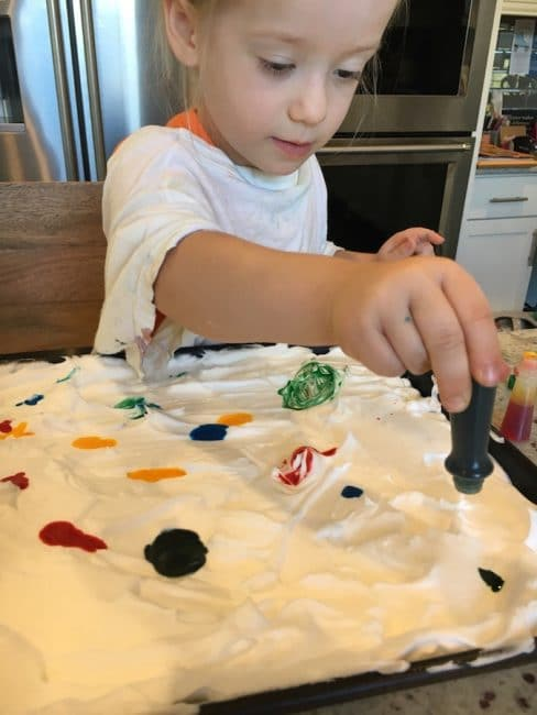 This shaving cream sensory project doubles as an art project!