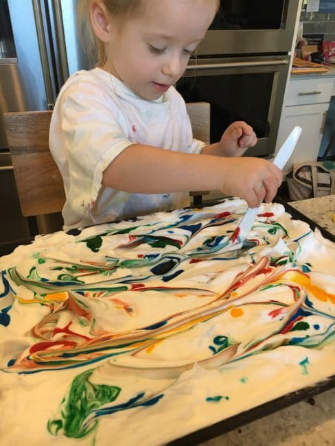 Shaving cream sensory play is also an art project!