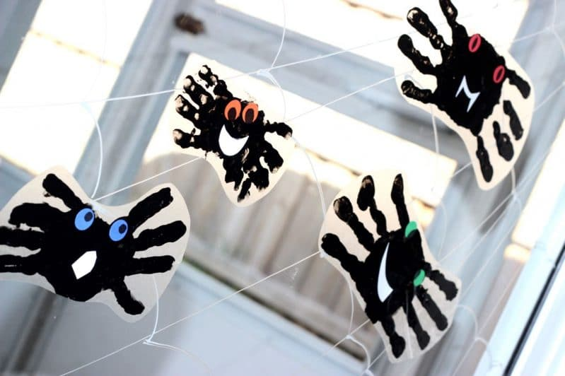Get the whole family involved in decorating the windows with some not-so-spooky spider handprint window clings!