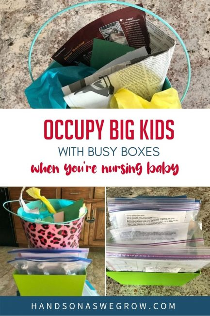 Busy boxes and activities to keep older kids busy while you are nursing a new baby or need a few minutes to get something done uninterrupted.