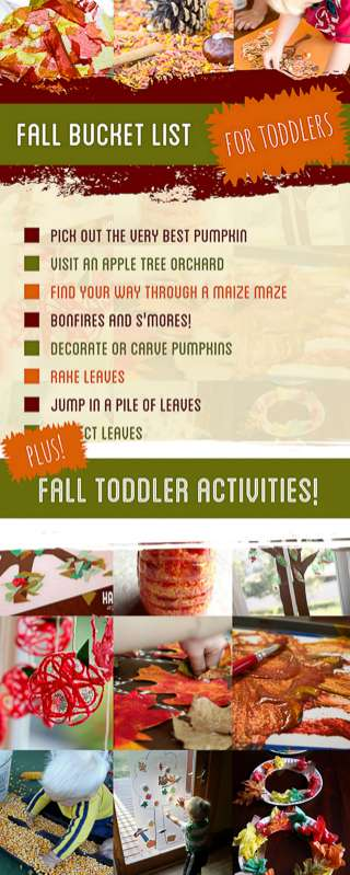 Before your toddler isn't a toddler anymore, these Fall activities for toddlers (including a bucket list) will create memories. From trees to leaves and apples to pumpkins!