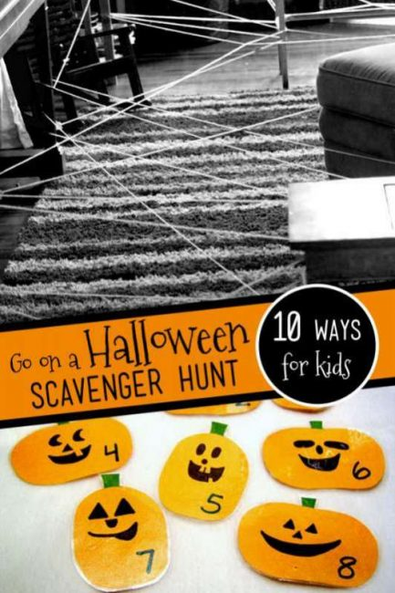 10 spooky-fun Halloween scavenger hunts for kids with pumpkins, spiders, monsters, ghosts and decorations.