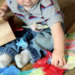 Tissue paper bag sensory for kids