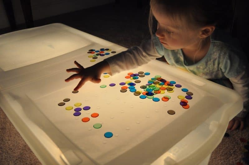 Practice color sorting using a DIY light table.
