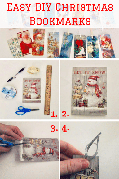 Turn Christmas cards into bookmarks for an easy gift kids can make!