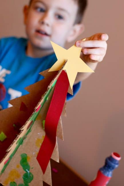 Your children can help you decorate for Christmas with an easy tabletop tree activity.