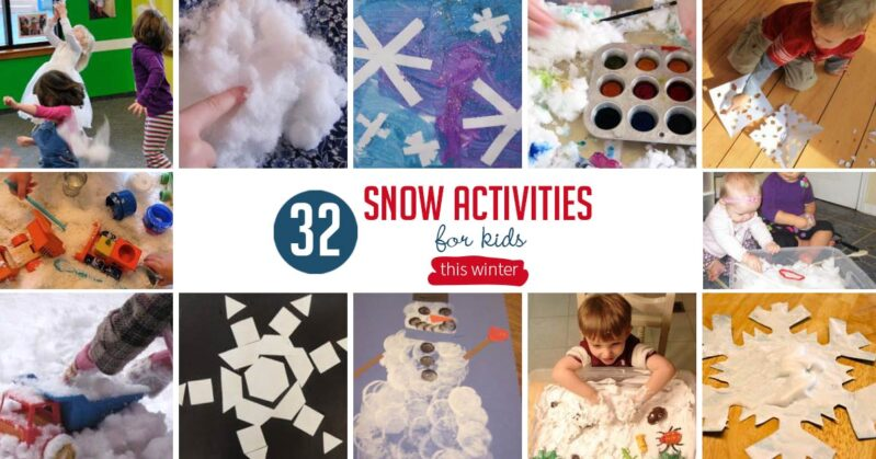 32 snow activities for kids to have a whole day or week of winter fun! These are great winter activities for the kids to do all about snow.