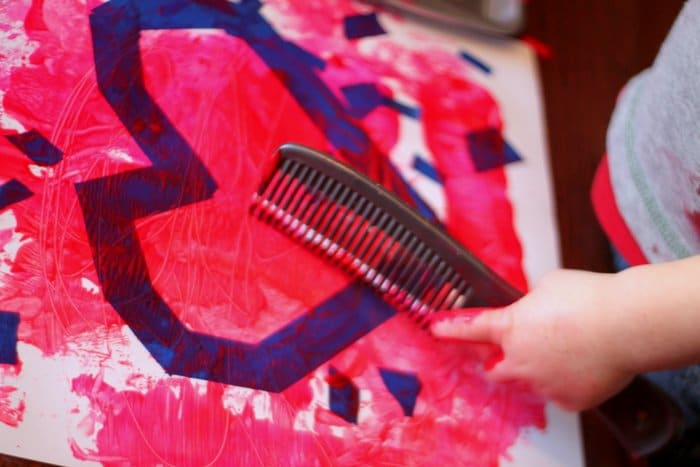 Comb Scratches for a Valentine Art for Toddlers