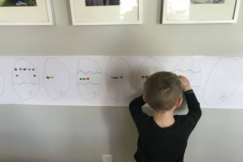 a counting activity vertical sticker easter egg art
