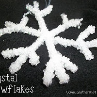 Use tips from Come Together Kids to make your own crystal snowflakes