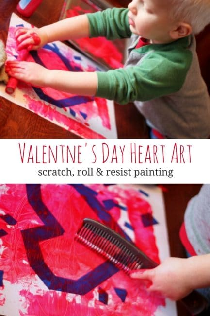 Make Valentine's Day heart art by scratching, rolling and creating tape resist paintings