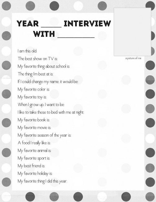Interview your child for a fun pre-first day of school activity!