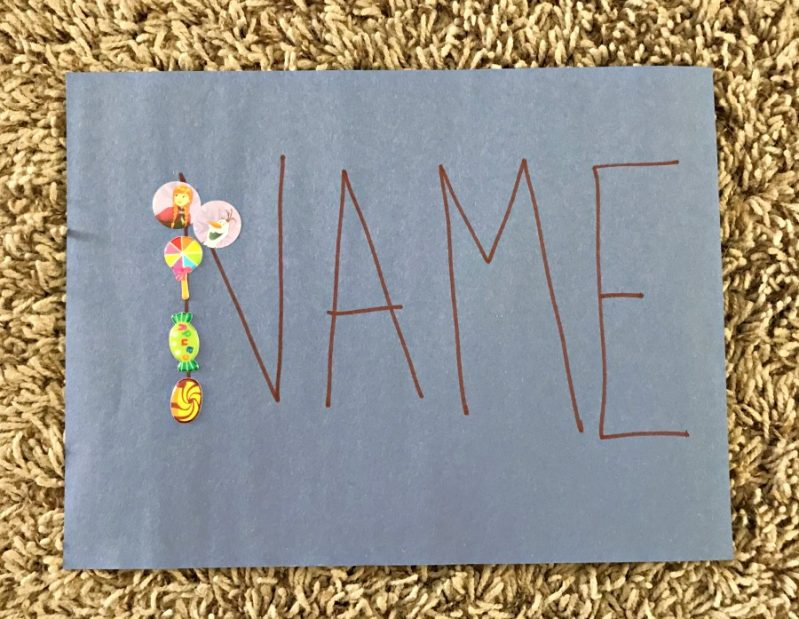 Practice name recognition with your sticker busy box