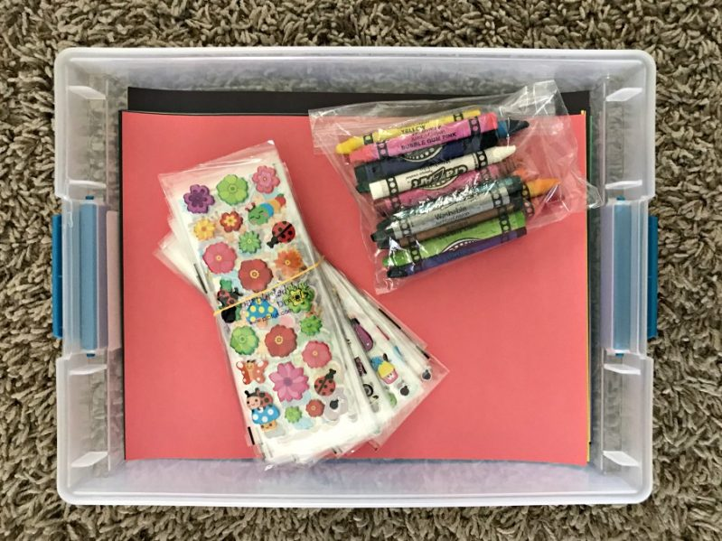Build a sticker busy box to help entertain your children