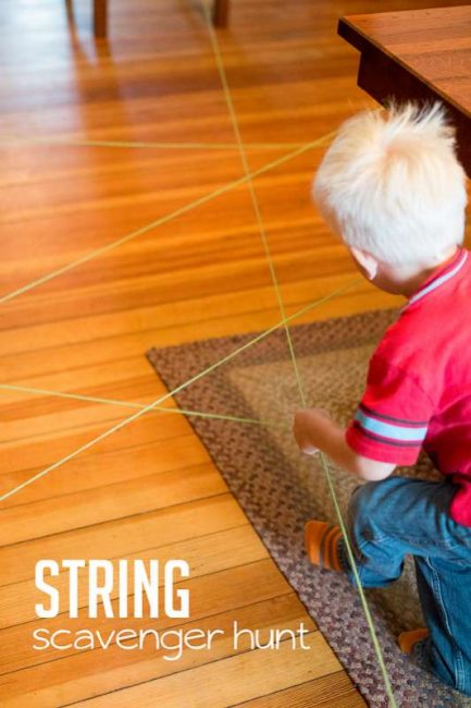 An indoor scavenger hunt to follow the string to spell your name