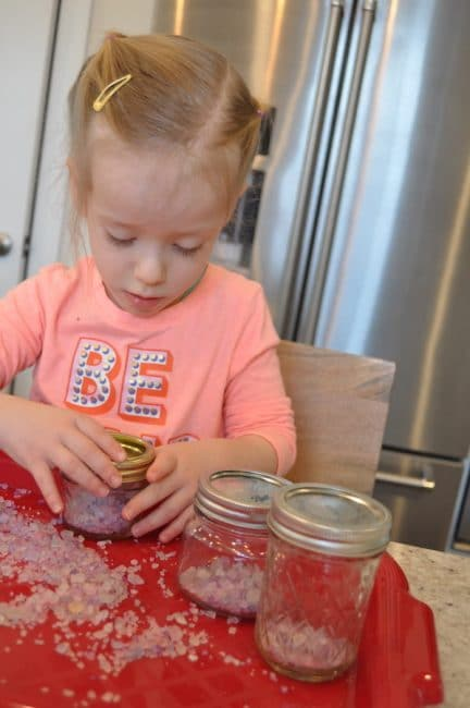 DIY rainbow salt is super simple to make for independent sensory play.