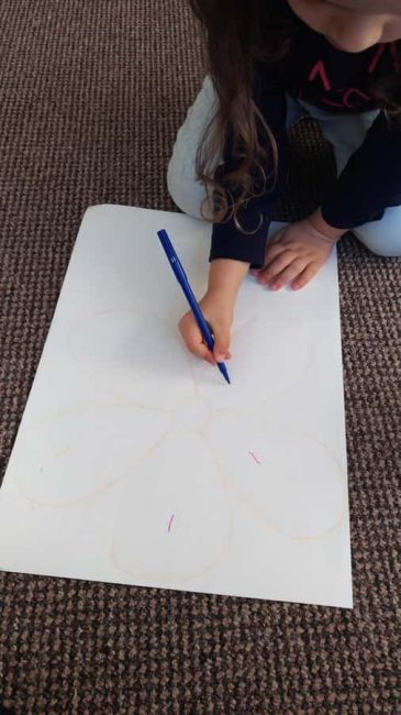 Draw an outline for your flower art collage