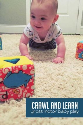 Set up an obstacle course for your baby to practice crawling! It's a super cute, fun way to to build gross motor skills together.