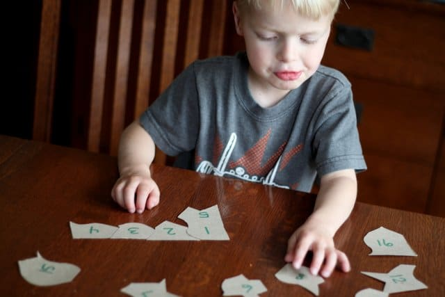 Build cereal box puzzles to help your child sequence numbers