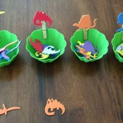 Sort dinosaur stickers by type just like Modern Preschool