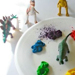 Make a dinosaur print painting with this idea from Parenting Chaos