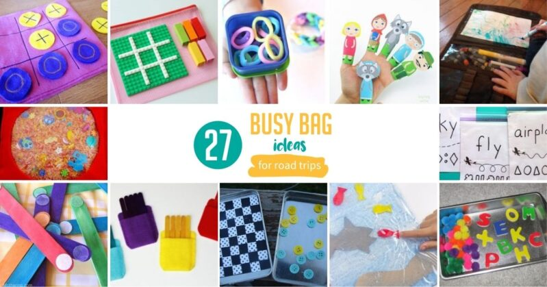 Enjoy 27 awesome busy bag ideas for toddlers you can have ready for your next road trip! The kids will love you (and you'll love the trip).