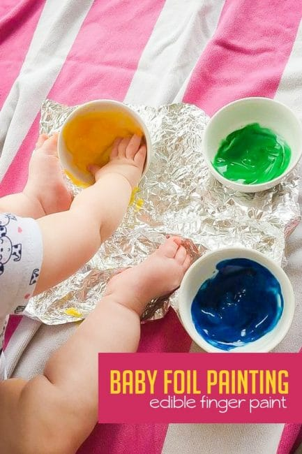 Have messy sensory fun with baby safe edible finger paint!