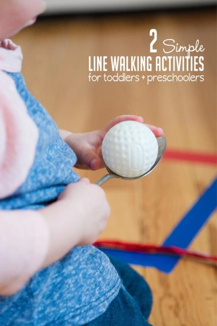 Try two simple line walking activities to work on coordination and fine motor skills with your toddlers or preschoolers!