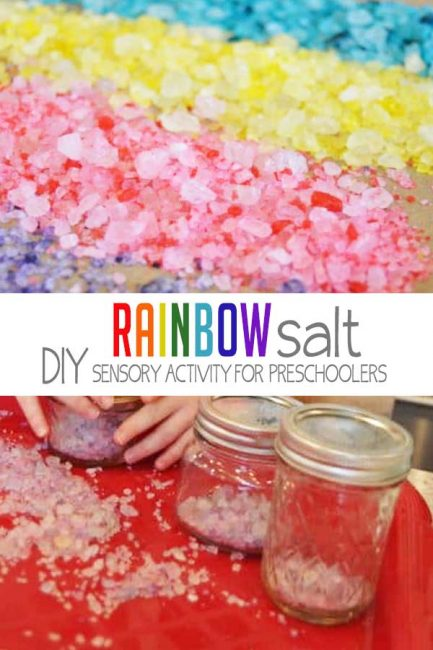 Make your own rainbow salt for fun sensory play with your preschooler or toddler!