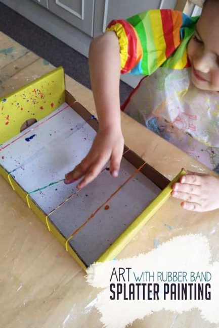 Use supplies from around the house for rubber band splatter painting!