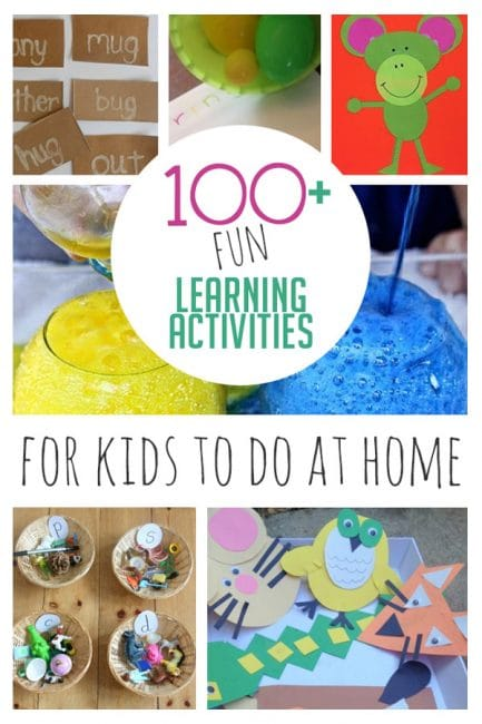 Check out out master list of over 100 fun learning activities for kids to do at home!