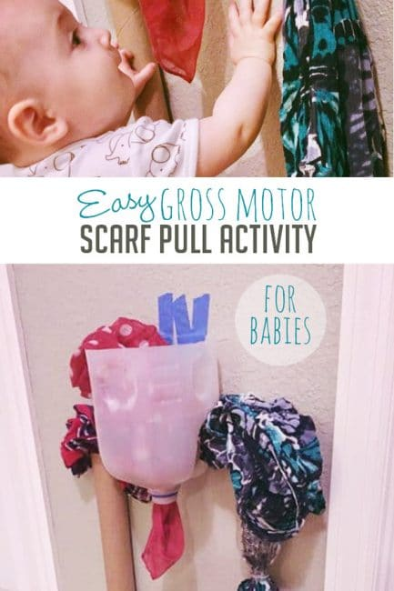 Your baby will love this gross motor scarf pull activity!