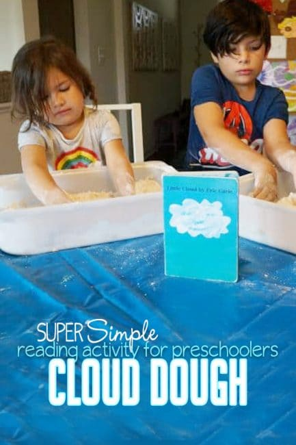 Make super simple cloud dough with your preschoolers for a fun ready-based activity!
